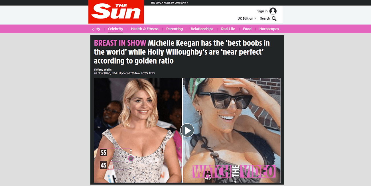 BREAST IN SHOW Michelle Keegan has the 'best boobs in the world' while Holly Willoughby's are 'near perfect' according to golden ratio