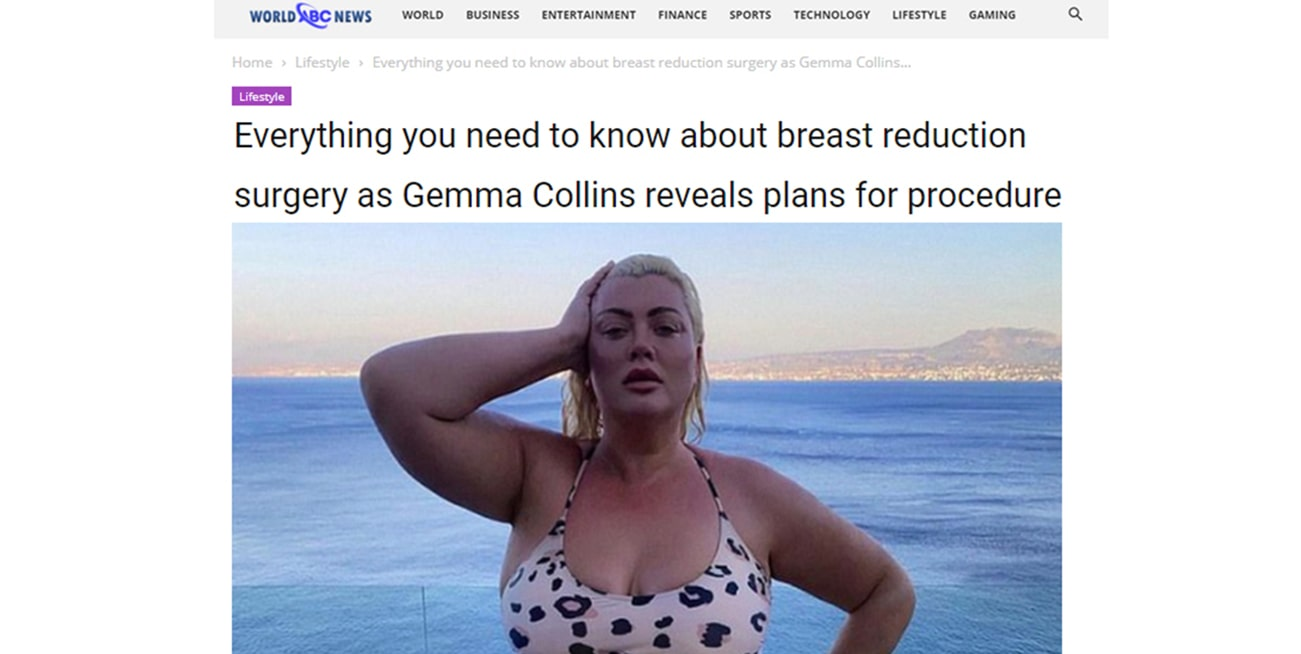 WorldABCNews – Everything you need to know about breast reduction surgery as Gemma Collins reveals plans